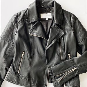 CUCAKES AND CASHMERE LEATHER MOTO JACKET
